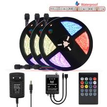 цена на 12V RGB Tape LED Strip Light Waterproof SMD 5050 5M 10M 15M Music Controller RGB Flexible Neon Led Strip 12V Adapter Set 60leds