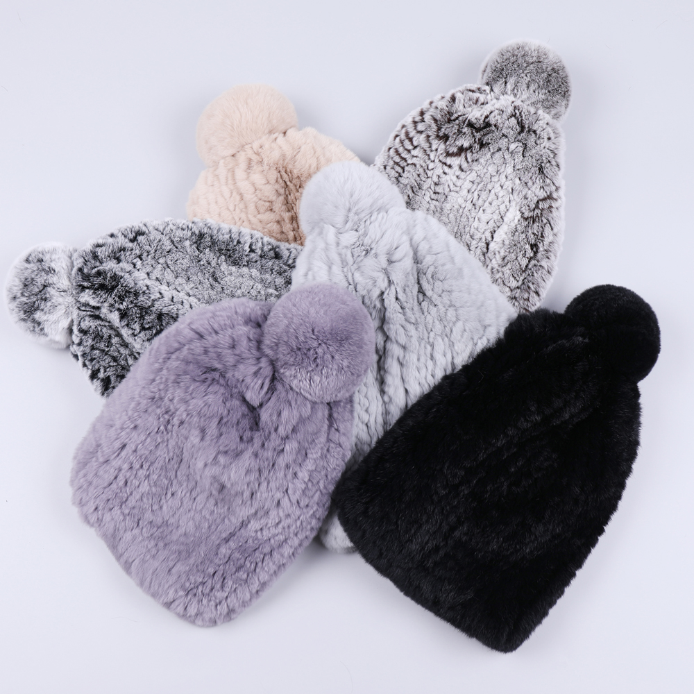 Real Girls Rex Rabbit Fur Hat Women Winter Knitted Fur Beanies Cap Fur Pom Poms Brand New Thick Female Cap Elastic Soft Warm