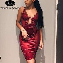 NewAsia 블랙 메쉬 새틴 드레스 여름 미디 드레스 여성 파티 밤 Underwired Cut Out Bodycon 클럽 드레스 섹시한 가운 Femme 레드