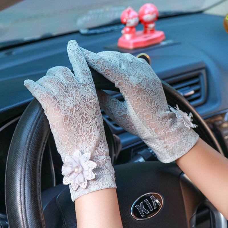 Sexy Summer Women UV Sunscreen Short Sun Screen Pearl Flowers Gloves Thin Ice Silk Lace Touch Screen Lady Driving Gloves J48