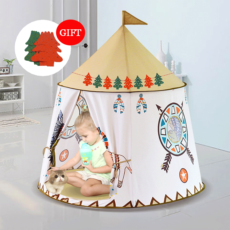 Foldable Children's Tent For Kids Baby Play House Wigwam Princess Castle Teepee Kids Present Hang Flag Tent Children's Room Toy