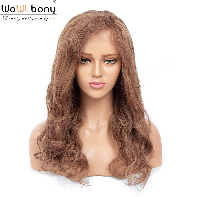 Colored Human Hair Wig T8 #9 Ombre 13x4 Lace Front Wig 100% Brazilian Virgin Wavy Hair Pre Plucked Hairline Salon Hair WoWEbony