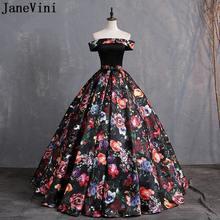 Женское платье с цветочным принтом janevini черное бальное вечернее