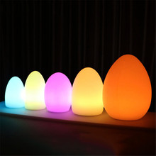 Waterproof Egg Shape RGB LED Night Lights Remote Control Rechargeable Indoor Outdoor Home Garden Bar KTV Dining Table Lamp led night lights egg lamp christmas decor rgb color change home bar furniture set d14 h19cm free shipping 20pcs lot