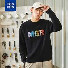 TONLION Black Hoodie for Mens with Print Letter Decoration Sweatshirts No Hood 2020 Spring Simple Man's Tops Fashion Pullovers