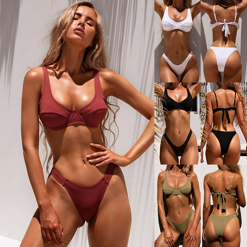 2020 Sexy Swimsuit Women Bikini Push-up Padded Bra Bandage Bikini Set Triangle Swimwear Bathing Suit Ribbed Biquini Female