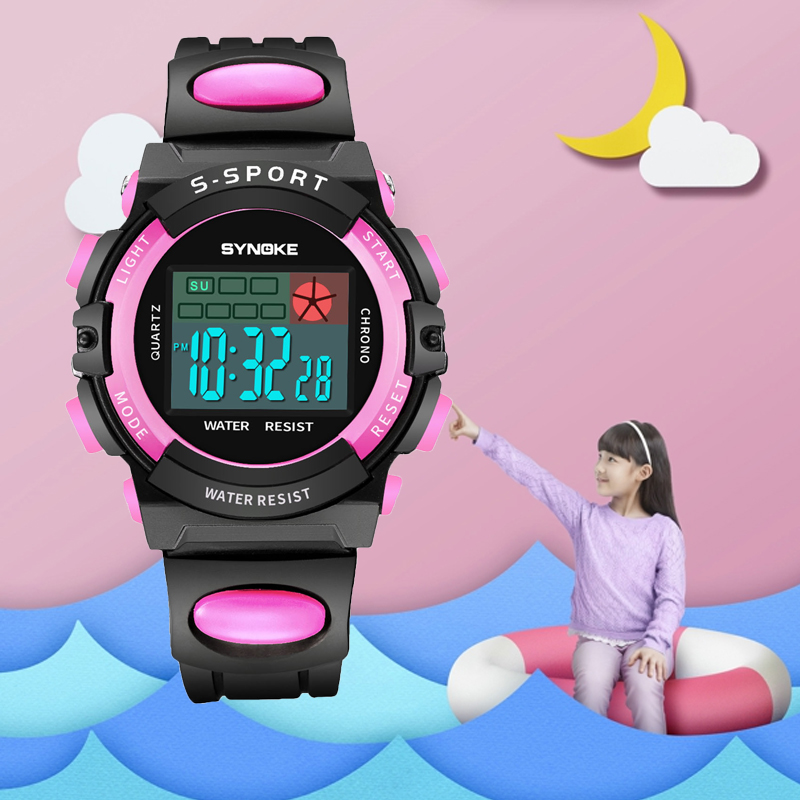 SYNOKE Children Electronic Digital Sport Watches Stop Watch For Boys Girls Wristwatches Waterproof Kids Clock Children's Watches