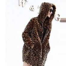 Зимняя женская меховая куртка с капюшоном и леопардовым принтом средней длины, пальто из искусственного меха, Женская Повседневная куртка из меха Luipaard, Женская норковая шуба Harajuku
