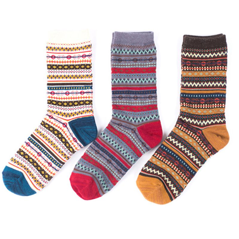 3 Pairs Womens Ethnic Wavy Stripes Cotton Crew Socks Thick Warm Winter Casual Contrast Color Vintage Harajuku Hosiery