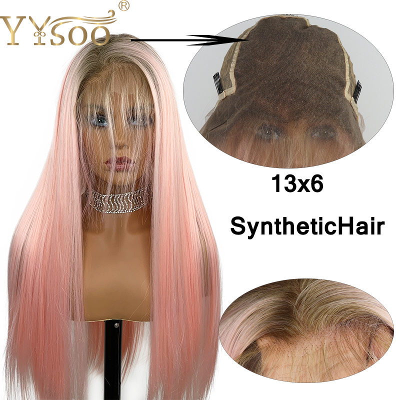 YYsoo Long13x6 Silk Straight Lace Front Synthetic Wig Glueless Ombre Pink Wig for Women Heat Resistant Fiber Hair Wig Dark Roots