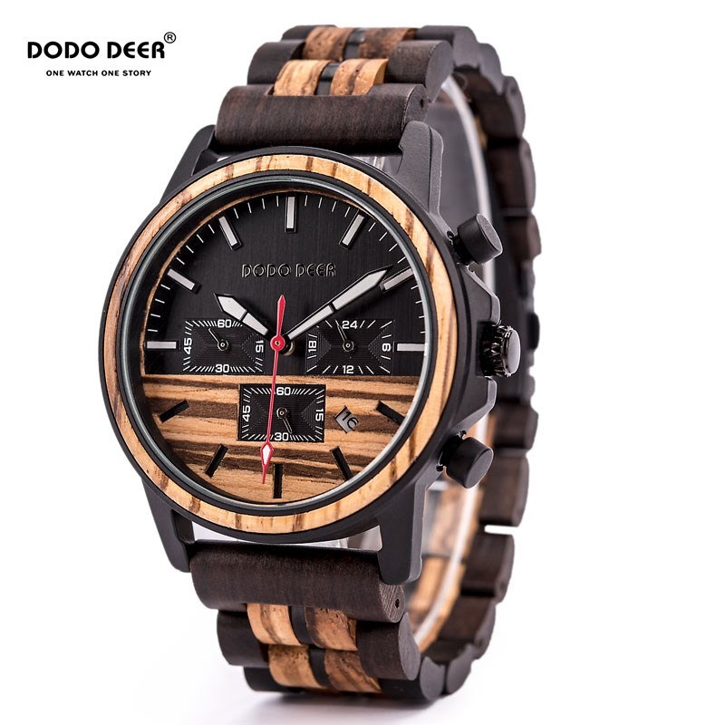DODO DEER Wood Watch Men Stopwatches Handmade Relogio Masculino Wristwatch Gift for Male erkek kol saati
