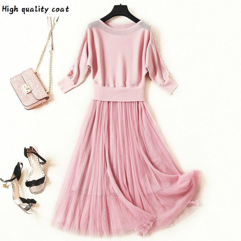 Женское трикотажное платье с рукавами «летучая мышь», черное или розовое Сетчатое платье с круглым вырезом и прострочкой, модель 2020 большог...