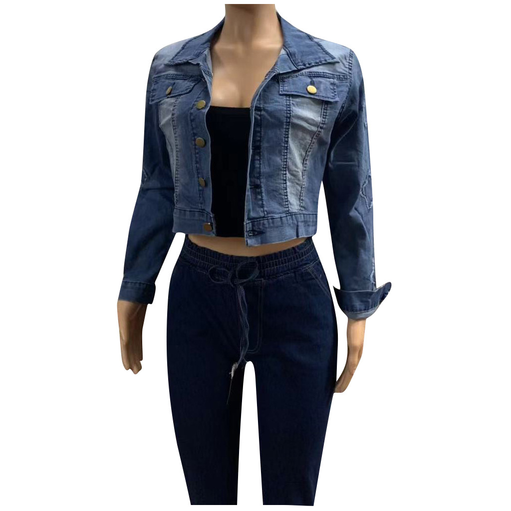 H71a15e2583f44913976aa87e2078628fq 2019 Autumn And Winter Women Denim Jacket Vintage Cropped Short Denim Coat Long-sleeve Slim Jeans Coat For Women#J30