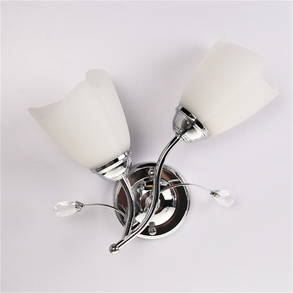Single/Double Head Wall Sconce Chrome Steel Glass Shape Wall Light Corridor Living Room Lighting Lamp Decorative Light