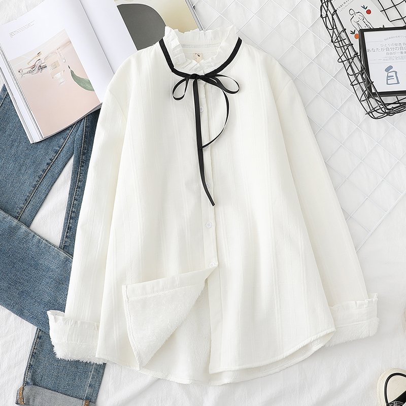 Lace Up Women Blouses Shirts Tunic Womens Tops And Blouse 2020 Womenswear Long Sleeve Clothing Button Up Down Thick Velvet Loos
