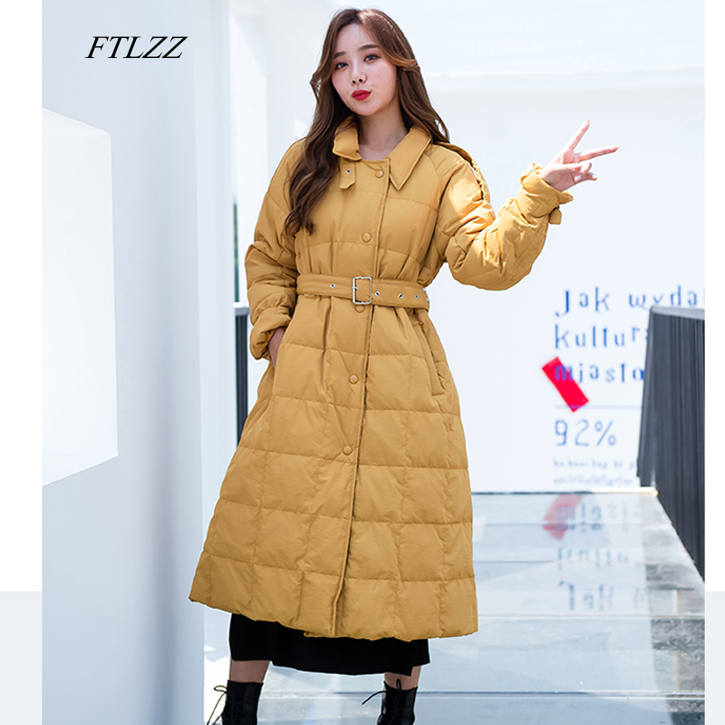 FTLZZ New Women Winter Ultra Light 90% White Duck   Down   Long Parkas Single Breasted Thickness Loose   Coat   Female With Belt Outwear