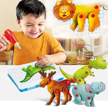 Children's Electric drill Nuts disassembly combination hundred variable Dinosaur Building Toys Baby Assembly tool Toys