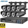 4K 8MP Камера Видеонаблюдения Набор H.265 домашняя система серая металлическая IP видеорегистратор Открытый POE NVR видеонаблюдение