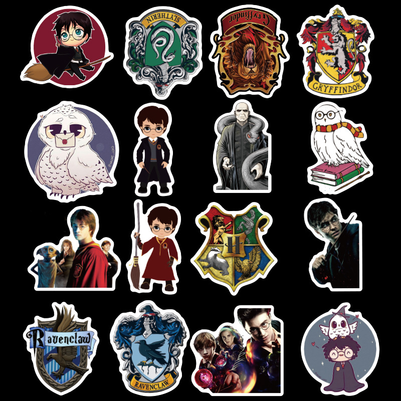 Image 3 - 50pcs Pack Potter PVC Harry Stickers For Kids Luggage Skateboard Laptop Cartoon Movies Sticker For Children-in Stickers from Toys & Hobbies