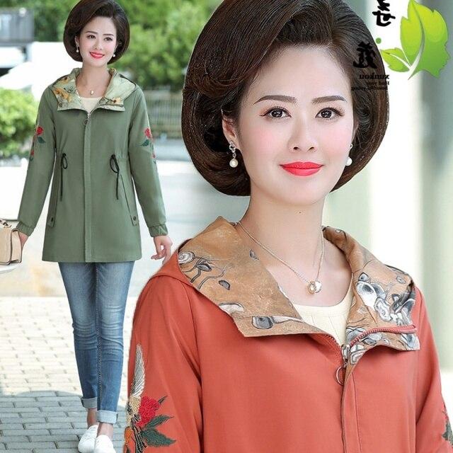 2020 Women Jacket Two Side Wear Female Jacket New Autumn Emboridery Coat Plus Size Hooded Windbreak Zipper Jacket Coats Pocket 4