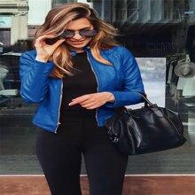 Новый осенне зимний женский модный кожаный блейзер