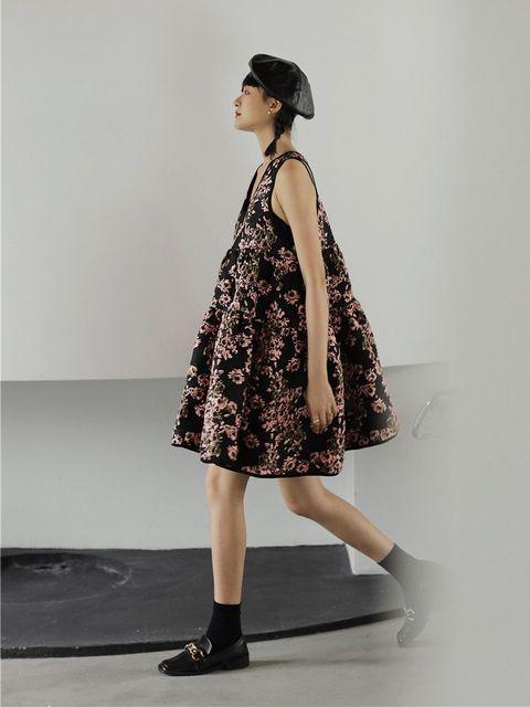 Nbpm Women's Dress High Waist Weet Sleeveless Flower Pattern New 2021 Winter Spring Women Dresses 2
