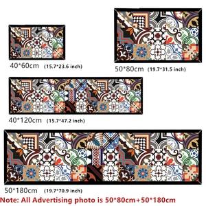 Image 2 - Ethnic Printed Kitchen Mat Set Dirty proof Long Carpet Hallway Doormat Bedside Floor Mat Non slip Water Absorption Bathroom Rugs