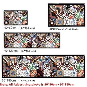Image 2 - Etnische Gedrukt Keuken Mat Set Vuil Proof Lange Tapijt Hal Deurmat Nachtkastje Floor Mat Antislip Water Absorptie badkamer Tapijten