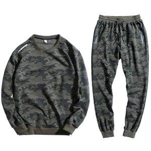 Homem solto estilo esporte terno camuflagem 95% algodão ao ar livre ginásio roupas esportivas correr jogging terno super grande tamanho 150 kg pode usar 9xl 10xl