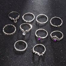 2020 novo 10 pçs/set retro cristal broca coroa knuckle anéis moda jóias feminino charme anel de casamento anéis para mulher