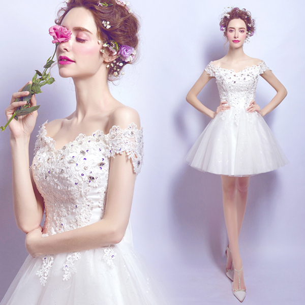 Short summer lace fairy white sweet lady girl women princess bridesmaid banquet party performance dress gown