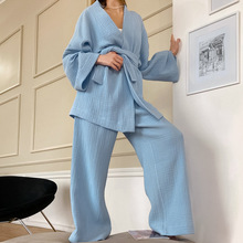 Zimowa piżama bielizna nocna kobiety bawełna 2 sztuka zestaw piżamy jednolity kolor dekolt w serek szata De Chambre d #8217 h ôte la Femme Szlafrok Damski Badjas Dames tanie tanio COTTON Stałe V-neck Pełna długość CN (pochodzenie) Pełne summer WOMEN pajamas PIŻAMY Normalna