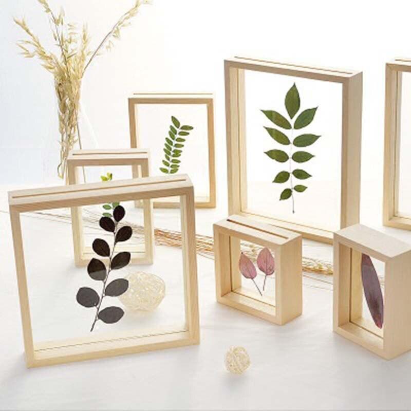 נורדי סגנון מיובש פרח עלים DIY לחץ צמח תמונה מסגרות זוגי צד זכוכית עץ מסגרת קיר אמנות בית תפאורה 1 חתיכה