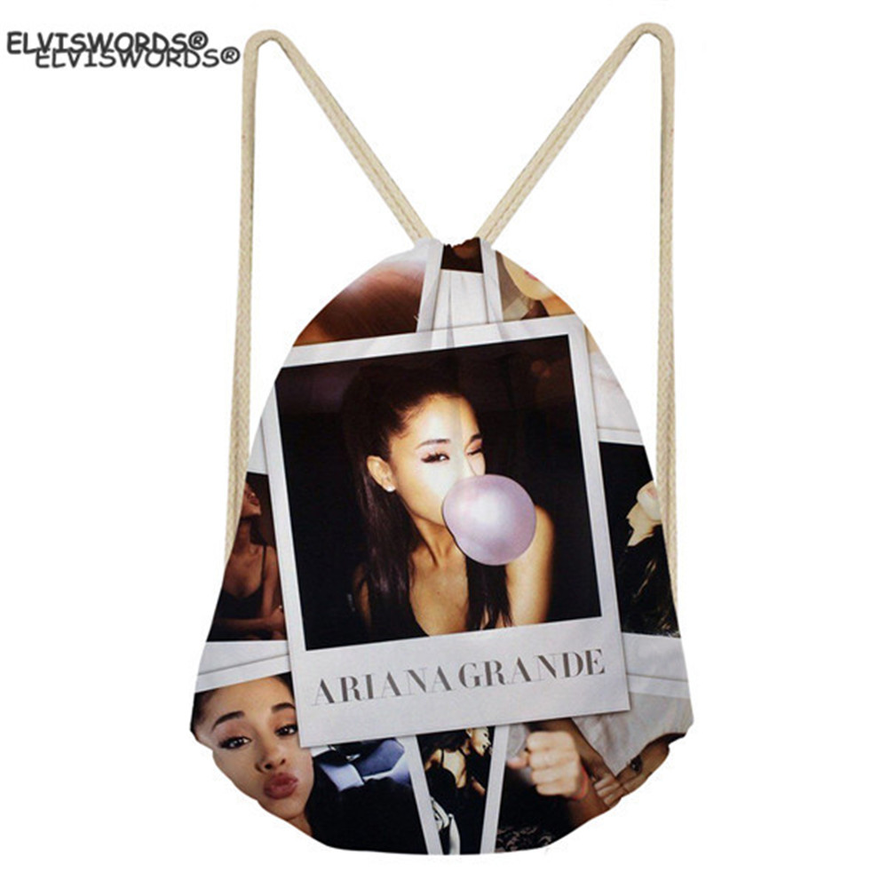 ELVISWORDS Ariana Grande Printed Drawstring Bags Shcoolbags For Teenage Girls Yoga Backpacks Women Gym Sack Travel Beach Bags