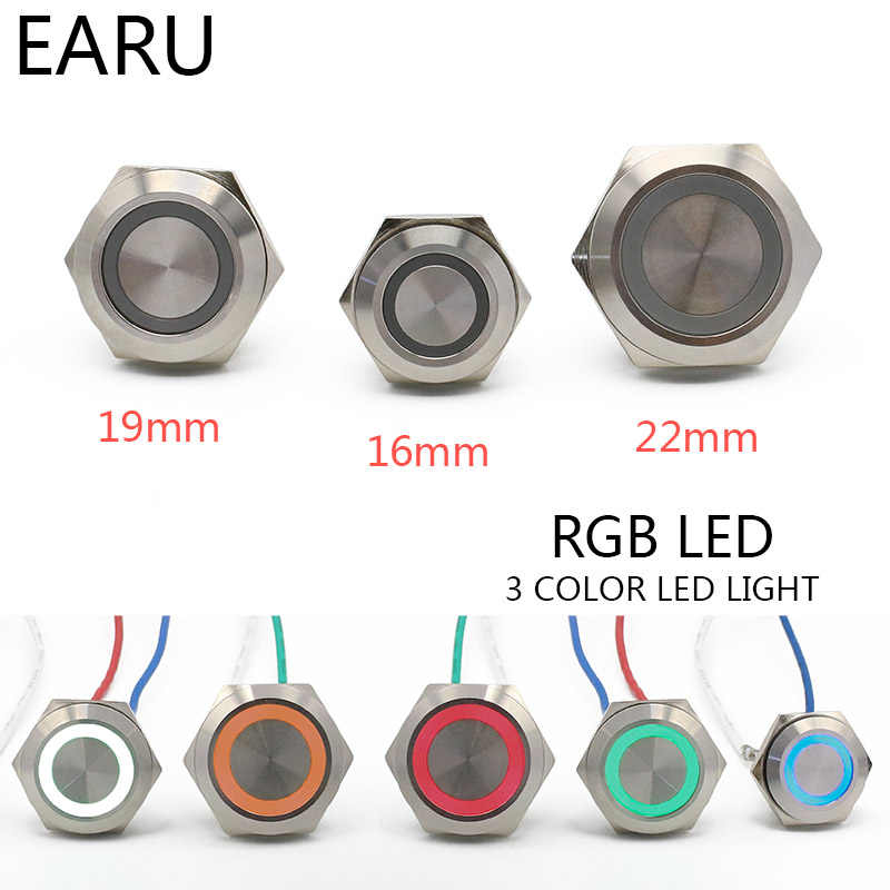 16/19/22mm 3 Triple Farbe RGB LED Licht Mirco Schalter Kurze Strock Momentary Self-reset wasserdicht Metall Push Button Switch Power