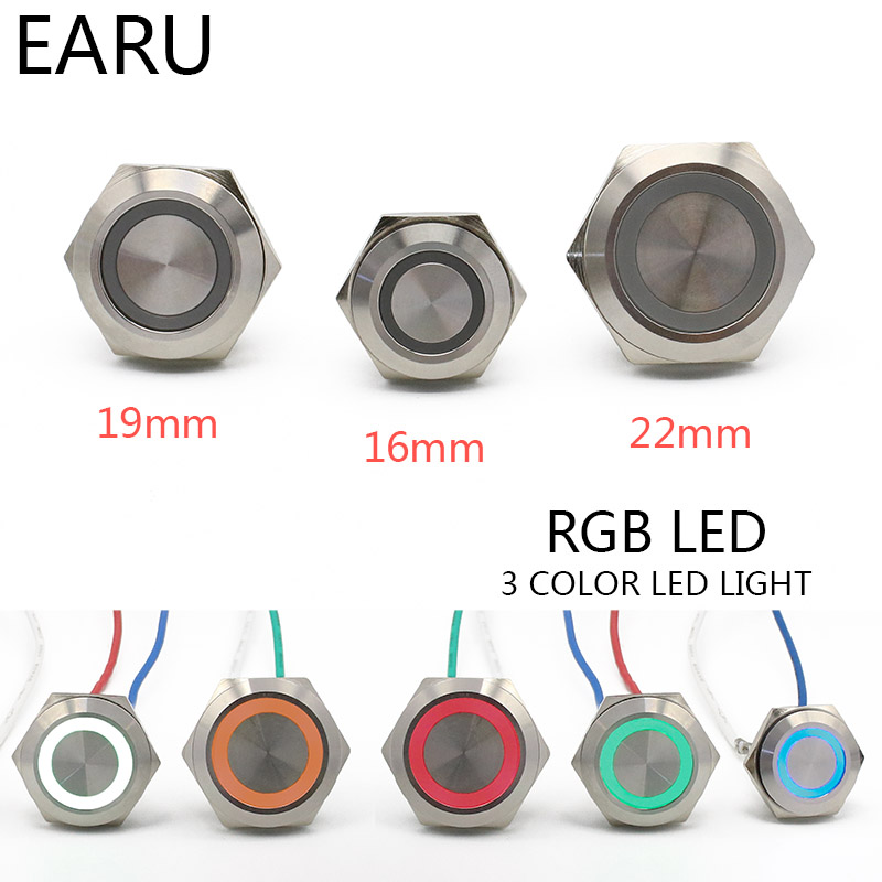16/19/22mm 3 Triple Color RGB LED Light Mirco Switch Short Strock Momentary Self-reset Waterproof Metal Push Button Switch Power