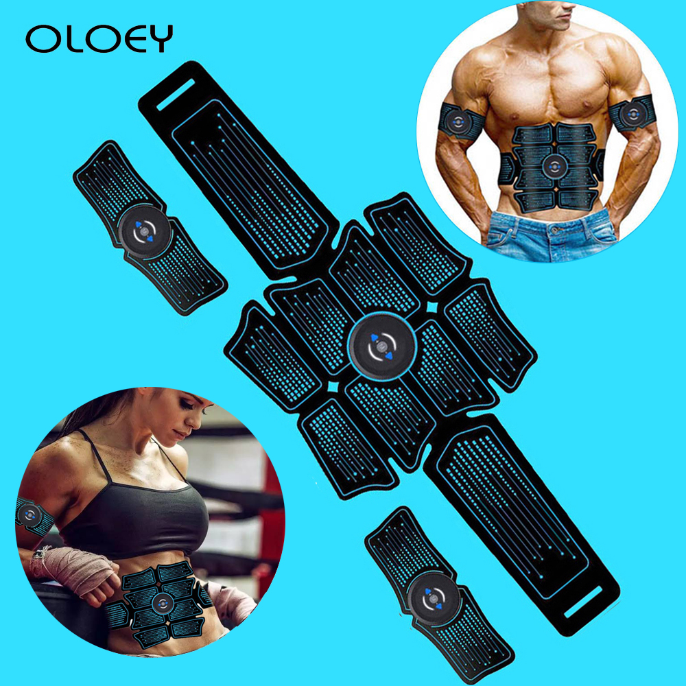 EMS Abdominal Muscle Trainer Fitness Equipment Exercise Stimulator Device Machine Body Slimming Burning USB Charging Home Gym