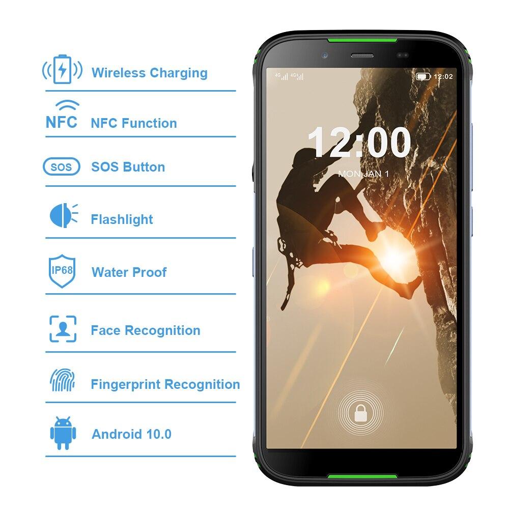 Version mondiale HOMTOM HT80 IP68 Smartphone étanche Android 10.0 5.5 pouces MT6737 Quad Core NFC sans fil charge SOS téléphone portable - 2