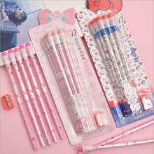 12 pcs Pencil  Wooden set Pencils student school supplies stationery novelty girl Hello Kitty Rubber pencil sharpener 6 7 years chungwa colorful wooden pencil set multicolored 36 pcs
