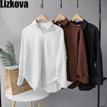 Женские топы белая Вельветовая массивная рубашка большого размера с длинным рукавом Зимняя Блузка Повседневная одежда Wram блузка