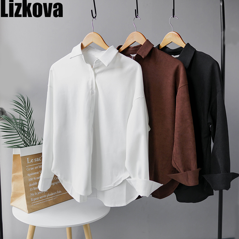 2020 Spring White Corduroy Formal Shirt Women Long Sleeve Official Blouse Ladies Oversized  Tops 8876