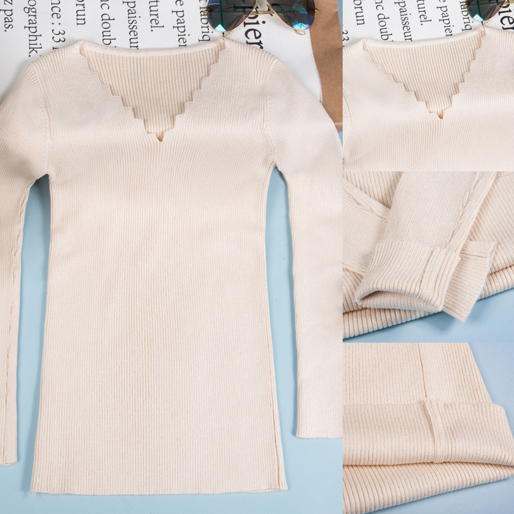 Misshow Autumn Winter Korean Style Sweater Women Unique Design Wave Collar Pullover One Size Elasticity Slim Jumpers Pull Femme in Pullovers from Women 39 s Clothing