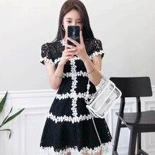 цена на Women A-line Wrap Mini Dresses White Black Contrast Dress for Women Short Sleeve Singer Button Hollow Out Lace Dress Ladies Rope