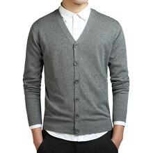 Cárdigans grises de algodón para hombre, suéter de manga larga con cuello en V, Tops holgados con botones sólidos, ropa de estilo informal de punto