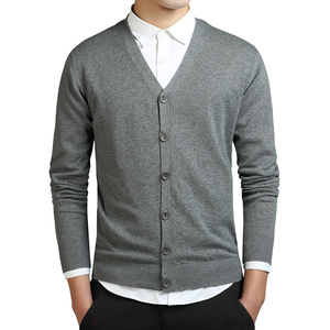 Grey Cardigans Men Cotton Sweater Long Sleeve Mens V-Neck Sweaters Loose Solid Button Tops Fit Knitting Casual Style Clothing