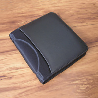 PU leather business travel A5 folder Padfolio multifunction document organizer file folder with CD mobile pocket pen loop 783