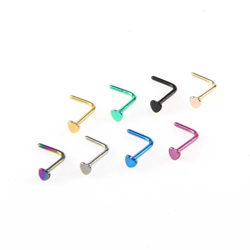Punk simple estilo en forma de L anillo de la nariz de acero inoxidable pendientes ganchos Bar Pin anillos Piercing de nariz del cuerpo de la joyería para las mujeres