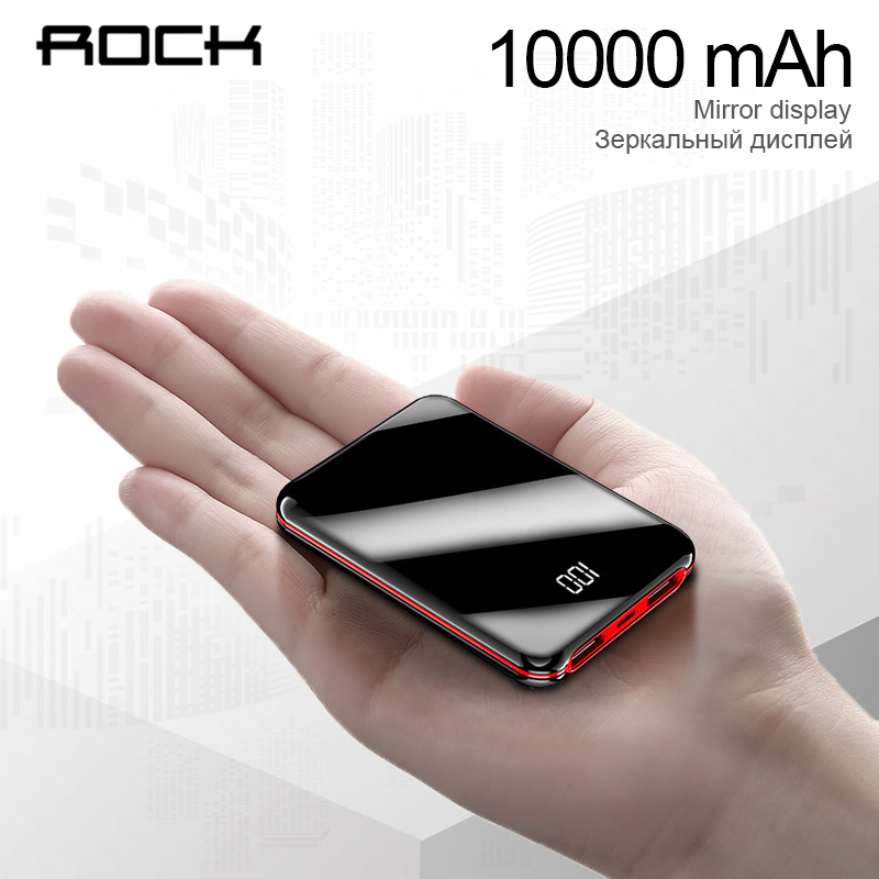 ROCK Min 10000mAh Power Bank For xiaomi iPhone LCD Display Portable Charger Powerbank External Battery Powerbank Fast Charging