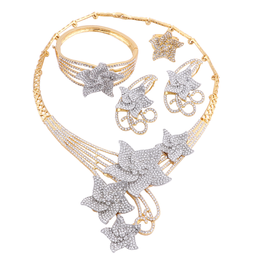 Dubai Jewelry Sets Crystal Necklace Bracelet Earrings Ring African Charm Women Classic Jewelry Set Wedding Party Jewelry Uncategorized 8d255f28538fbae46aeae7: Gold|multi|Silver