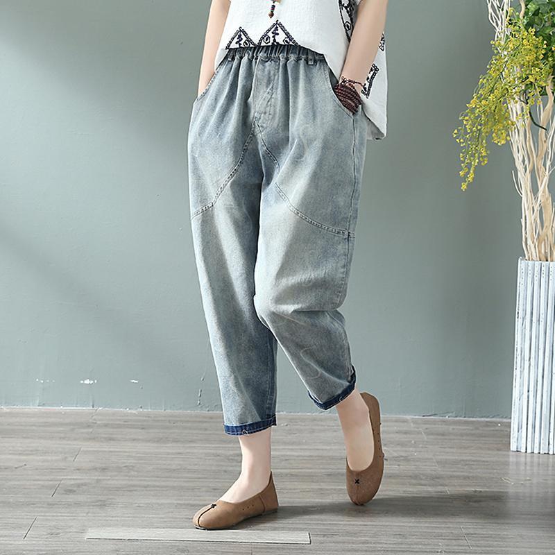 Autumn New Arts Style Women Vintage Loose Jeans Pants All-matched Casual Elastic Waist Cotton Denim Harem Pants Plus Size S486